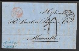 1860 - ALTBRIEF - ZÜRICH Nach MARSEILLE über ST. LOUIS - Postmark Collection