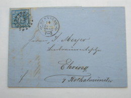 1853 , Nürnberg , Nummernstempel Auf Brief - Bayern