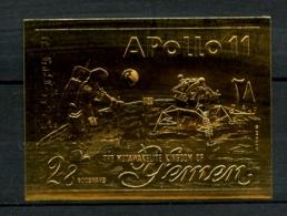 YEMEN (Royaume) - 28 B. Sur Or -  Apollo 11 - Non Dentelé - Neuf N** - Très Beau - Yémen