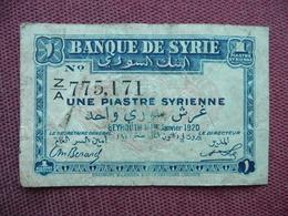 SYRIE Billet De Banque Année 1920 - Syrie