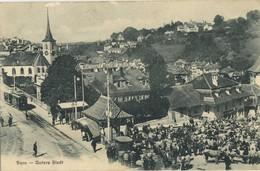 CPA Suisse Bern Untere Stadt Marche Aux Boeufs Tramway  Voyage 1907 Rare - BE Berne