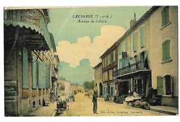 82 CAUSSADE AVENUE DE CAHORS édit. Aillet CPA 2 SCANS - Caussade