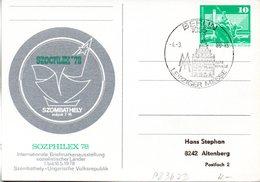 """(FC5) DDR Amtl.GZS-Postkarte P83b WSt 10(Pf) Grün """"SOZPHILEX'78"""" SSt 4.3.1980 BERLIN """"Leipziger Messe"""" - Cartoline - Usati"""