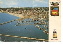 Le Havre - Vue Générale Port Plaisance Plage Ville - Aérienne N° 47624/2 Mage - Blason Normande (cp Vierge) - Le Havre