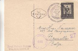 Autriche - Timbres Sur Timbres - Carte Postale De 1950 - Oblit Wien - Avec Censure - Valeur 30 Euros - Timbres Sur Timbres