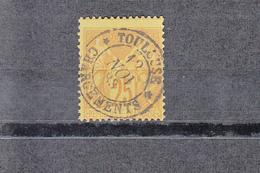 """1877-81 SAGE 25c Bistre S Jaune  C.à.d. """" TOULOUSE CHARGEMENT """"  Le 12 Nov 1883  Sans Charniere  Scan Recto-verso - 1870 Bordeaux Printing"""