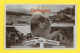 CPA Antilles ֎ Greetings From Dominica  1918 ֎  Multiview ¤¤ Roseau ¤¤Marigot ¤¤ Portsmouth ¤¤ Poor Black Banana Carrier - Dominique