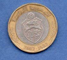 Tunisie  - 5 Dinars  2002  -  Km # 350  - état  TTB - Tunisie