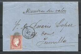ESPAÑA, CARTA ENTERA A JUMILLA, SELLO 4 CUARTOS - 1850-68 Royaume: Isabelle II