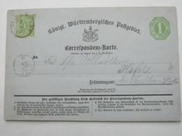 1872 , Stuttgart ,  Stempel Auf Ganzsache - Wuerttemberg