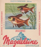Rare Buvard Biscottes Magdeleine Granville Poisson Flamme - Biscottes