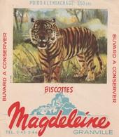 Rare Buvard Biscottes Magdeleine Granville Le Tigre - Biscottes
