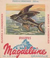 Rare Buvard Biscottes Magdeleine Granville Poisson Volant - Biscottes