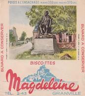 Rare Buvard Biscottes Magdeleine Granville Statue De Millet à Gréville - Zwieback
