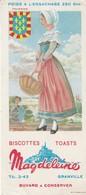 Rare Buvard Biscottes Magdeleine Granville Touraine - Biscottes