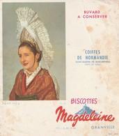 Rare Buvard Biscottes Magdeleine Granville Coiffes De Normandie Saint Martin De Boscherville Pays De Caux - Biscottes