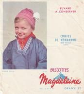 Rare Buvard Biscottes Magdeleine Granville Coiffes De Normandie Petit Paysan Orne - Biscottes