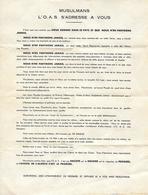 Lettre Tract - Musulmans L' O.A.S. S'adresse à Vous - Guerre D' Algérie - 1950 - - Documents