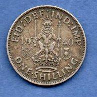 Grande Bretagne  - 1 Shilling 1940  -  Km # 853  -  état  TTB - 1902-1971 : Post-Victorian Coins
