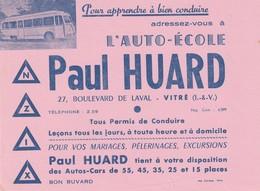 Rare Buvard Auto-école Paul Huard à Vitré - Transports