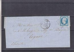 France - Lettre De 1858 - Oblit Montcornet - Exp Vers Cognac - Cachets Erquelines à Paris Et Paris à Bordeaux - 1853-1860 Napoléon III