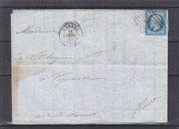 France - Lettre De 1859 - Oblit Cognac - Exp Vers Vigneuse - Cachets Paris à Erquelines Et Montcornet - 1853-1860 Napoléon III