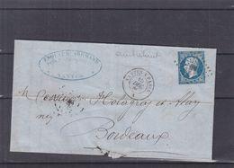 France - Lettre De 1860 - Oblit Ambulant NP - Nantes à Paris - Exp Vers Bordeaux - - 1853-1860 Napoléon III.