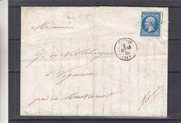 France - Lettre De 1860 - Oblit Cognac - Exp Vers Vigneux-cachets Bordeaux Paris, Paris Calais + Erquelines + Montcornet - 1853-1860 Napoléon III