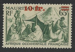 MAURITANIE - MAURITANIA 1944 - YT 136** - VARIETE SURCHARGE DEPLACEE - MNH - Mauritanie (1906-1944)