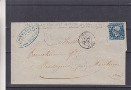 France - Lettre De 1861 - Oblit Lyon - Exp Vers Boussignée ? - Cachets Paris à Erquelines + Jeumont - Voir Cadre Brisé - 1853-1860 Napoléon III
