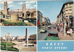 Brest: CITROËN DS, RENAULT DAUPHINE , Rue De Siam, Pont De Recouvrance Et Tour Tanguy, Place De La Liberté - Toerisme