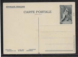 France Entiers Postaux - Carte Postale 50c Mémorial Canadien De Vimy - TB - Entiers Postaux