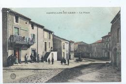 Cpa - Dpt  - Gard  -  Castillon Du Gard   La Place     Animation     -        (  Selection  )  - Rare   1908 - France