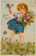 H226 - Fantaisie - Nouvel An - Bonne Année - Fillette Et Fleurs - Nouvel An