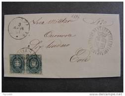"""1596 ITALIA Regno-1889- """"Stemma"""" C. 5 Coppia ACQUASPARTA>TODI (descrizione) - 1878-00 Umberto I"""