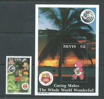 Nevis 1993 Earth Summit Care Bear Single & Miniature Sheet MNH - St.Kitts And Nevis ( 1983-...)