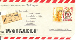 Monaco Frontpage Of A Registered Cover Sent To Denmark Monte Carlo 19-1-1959 (NOT A COVER ONLY THE FRONTPAGE) - Monaco