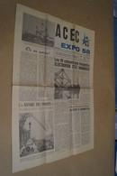 Expo 58,Exposition Bruxelles 1958,Journal ACEC.superbe état Neuf Pour Collection - Obj. 'Souvenir De'