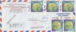 Honduras Registered Air Mail Cover Sent To Denmark 8-5-1970 (1 Of The Stamps Damaged) - Honduras