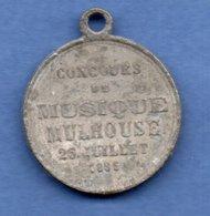 Médaille -- Mulhouse  -  Concours De Musique  -  26 Juillet 1885  -  Zinc  -  état  TB - France