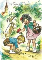 FANTAISIE ILLUSTRATEUR GERMAINE BOURET JOYEUSES PAQUES ENFANTS FILLE GARCON CHEVRE - Bouret, Germaine