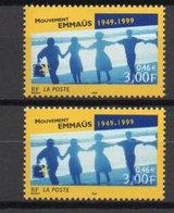 - FRANCE Variété N° 3282 - 3 F. (0,46 €) Mouvement Emmaüs 1999 - DOUBLE FRAPPE - IMPRESSION DÉFECTUEUSE - Signé CALVES - - Errors & Oddities