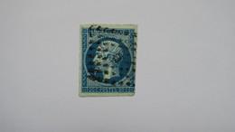 Napoleon N° 14 Ad Bleu Sur Vert Signé Brun TB - 1853-1860 Napoléon III