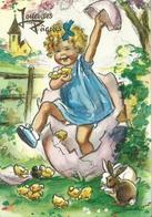 FANTAISIE ILLUSTRATEUR GERMAINE BOURET JOYEUSES PAQUES ENFANT FILLE OEUF POUSSINS LAPIN - Bouret, Germaine