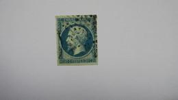 Napoleon N° 14 Ba Bleu Sur Vert Signé Calves TB Type II - 1853-1860 Napoléon III