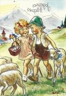 FANTAISIE ILLUSTRATEUR GERMAINE BOURET JOYEUSES PAQUES ENFANTS FILLE GARCON MOUTONS - Bouret, Germaine