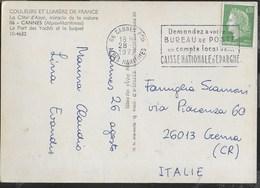 "FRANCIA - ANNULLO A TARGHETTA ""... CASSE NATIONALE D'EPARGNE"" 28.08.1972 DA CANNES SU CARTOLINA - Francia"