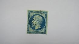 Napoleon N° 14 Ba Bleu Sur Vert Signé Brun TB Type II - 1853-1860 Napoléon III