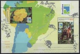 Argentina (2013) Bf. 136  /  Monkey - Brasiliana - Flowers - Fleurs - Végétaux