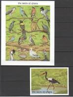 X258 !!! IMPERFORATE GHANA FAUNA BIRDS OF GHANA 1SH+1BL MNH - Oiseaux
